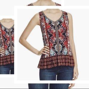 💛2/$15 Bila - boho style sleeveless print top - M